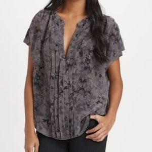 Joie Orly pleated abstract camo floral silk blouse